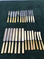 26x Vintage Bone Effect Handle Knives Cutlery Scheffield