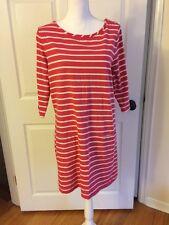 Boden Sz 14 Breton Striped Pink Tunic Dress Pockets Cute! EUC