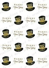 20 NAIL DECALS * HAPPY NEW YEAR TOP HAT and SCRIPT*  WATER SLIDE NAIL DECALS