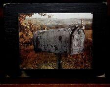 Vintage Rural Mailbox Primitive Rustic Wooden Sign Block Shelf Sitter 3.5X4.5