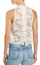 Free People Womens Cream Lace Fringe Crop Sheer Cami Top M
