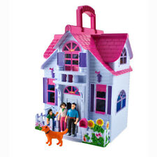 Tragbares Puppenhaus klappbar mit Figuren und Zubehör Koffer Spielhaus