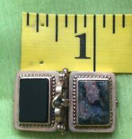 Antique Gold Filled Photo Album Locket Pendant Fob Gemstones Photos Included