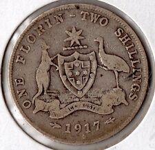 1917 Australia 2 Shilling nice world silver piece