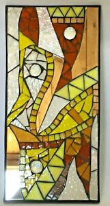 M056 Glass Mosaic Wall Art Picture 30cm x 14.5cm Abstract Golds Clear Mirror