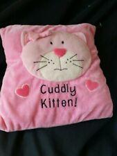 Girls Cuddly Kitten Cushion pink hearts cats