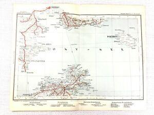 1902 Antique Railway Map of Sweden Bornholm Denmark Copenhagen Malmo Railroad