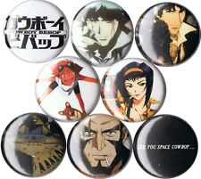 Cowboy Bebop 8 pins buttons anime Spike Faye Jet Black Edward 90s