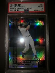 Frank Thomas 1999 Finest refractor with coating graded PSA 9 mint very rare!