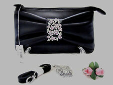 """Brighton """"MORNING GLORY"""" Black Leather Clutch/Handbag (MSR$145) NWT"""