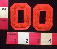 "2 Orange 2 1/4"" Chenille Letter Jacket Numbers - 0 Zero 00 For 2000 C76K"