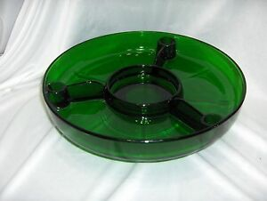 Vintage Forest Green Glass Divided Lazy Susan Tray 3 Candle/Toothpick Holders