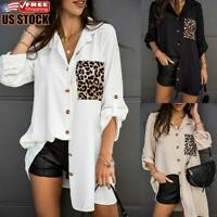 Women's Casual Leopard Printed Blouse Ladies Long Sleeve Buttons Tops T Shirt