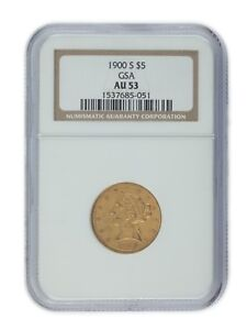 1900-S Gold $5 US Gold Half Eagle Graded by NGC As AU-53! Unique Release by GSA!