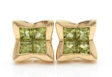 .80 Carat Natural Green Peridot in 14K Solid Yellow Gold Stud Earrings