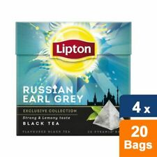 Lipton Russian Earl Grey Pyramid Luxury Tea Bags with Real Tea Leaves 4 Boxes