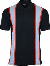 Relco 60s Style Stripe Pique Polo Shirt Navy Mod Northern Soul 100 Cotton L