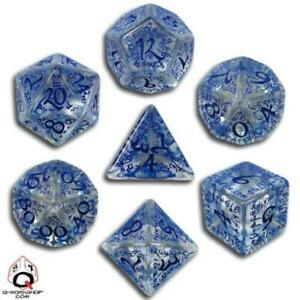 Q-Workshop Elven Dice Poly Set Transparent w/Blue (7) New