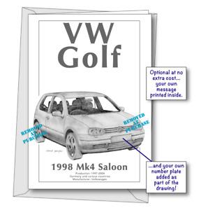 Volkswagen Golf Mk4 1998 portrait greetings card