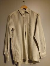 Genuine Lacoste Casual Button Up Shirt Striped Cream/Brown/Gold Men's 41cm Large