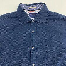 Cactus Man Button Up Shirt Men's Size Small Short Sleeve Blue Polka Dot Slim Fit