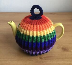 Hand Knitted Rainbow Tea Cosy