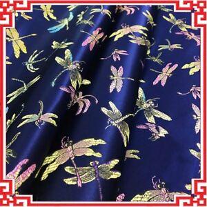 Ethnic Satin Fabric Chinese Retro Damask Dragonfly Brocade DIY Bag Clothes Craft