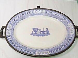 RARE Antiq Staffordshire Purple Transferware Oval Platter on Pewter Warming Dish