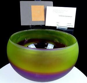 "GARY BOLT SIGNED ART GLASS YELLOW AMETHYST SATIN FINISH 8.75"" BOWL WITH COA 2003"