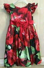 Nwt Sweet Heart Rose Party Girls' Dress Cap sleeves, red/black/green Size 6