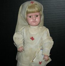 """SCHOENHUT NURSE DOLL - 16"""" - ORIGINAL CLOTHES, SHOES & STAND!! - NAILED ON WIG!!"""