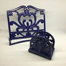 Cast Iron Cook Book Stand and Napkin Holder Blue