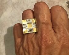 Modernist Tribal 925 Brass Artisan Ring Size 7 African Style