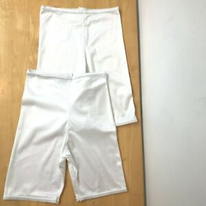Lot 2 Vintage Panties White All Nylon size L XL Brief Long Leg Womens USA GD