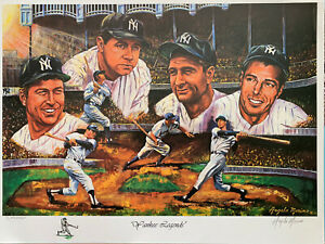 """New York Yankees Signed Remarque Lithograph by Angelo Marino- """"Yankee Legends"""""""