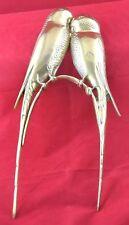 "Vintage Heavy Brass  Parakeets Love Birds 17"" x 8"" Wall Sculptures Hangings"