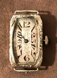 Elgin Womens 14K White Gold Filled Wristwatch 17J Swiss Made Ca 1915 Runs