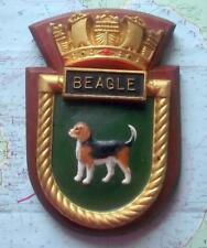"HMS Beagle Royal Navy Ship Heavy Metal Tampion Plaque Crest 8""X6"" Approx 1.5lb"