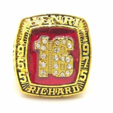 1955 1975 Henri Richard HOF 18k GP Brass Championship Ring & Wood Box