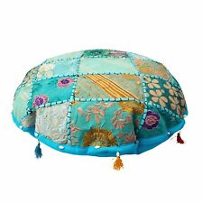 "18"" Indian Round Floor Pillow Cover Bohemian Patchwork Meditation Cushion Cover"