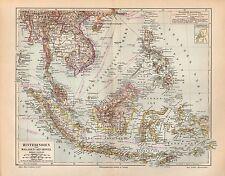 HINTERINDIEN Malaien-Archipel Philippinen Sumatra Java Borneo  Landkarte 1895