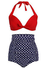 Women's Vintage High Waist 2 Pieces Bikini Set Swimwear Swimsuits Beachwear