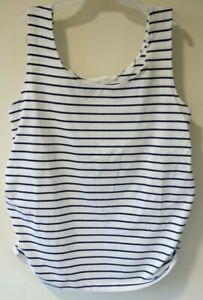 NWT JoJo Maman Bebe Navy/White Stripe Summer Maternity Top Size L / 12-14