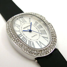 Black Leather-Like Band Large Oval Case Crystal Bezel Women's Dressy Watch