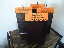 10 Black Orange Gusset Large PAPER BAGS SET Personalised Wedding Favour Birthday