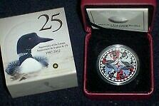 "2012 1$ silver proof ""two loons"" colorized coin mintage 10000!!"