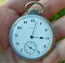 FATHERDAY GIFT ELGIN 16 SIZE POCKET WATCH WITH ETCH WAR PLANE & STAN MADE 1918