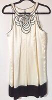 SALE BCBGMAXAZRIA Ivory Black Trim Silk Tank A Line Dress 8 Party Occasion NWOT