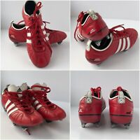 RARE Adidas Adipure UK 6 US 6.5 Red Leather SG Soft Ground Football Boots VGC