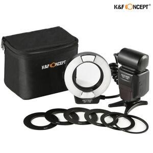 K&F Concept KF-150 E-TTL Macro Ring Flash Light Speedlite 6 Adapters for Canon
